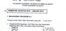 Kalender Akademik Semester Ganjil Agustus 2015 – Januari 2016